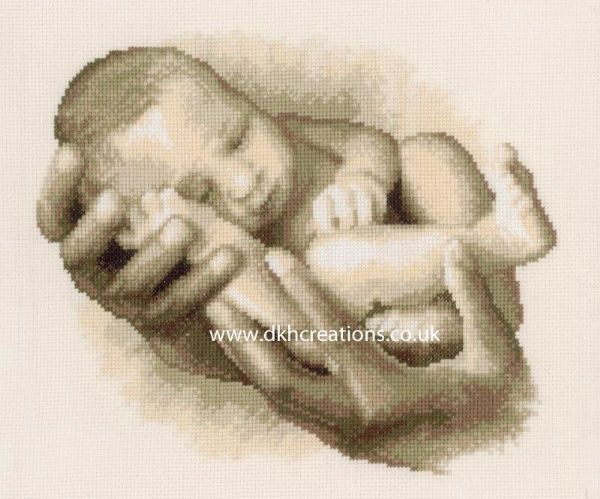 Desired Carried Born  Sepia Birth Sampler Cross Stitch Kit